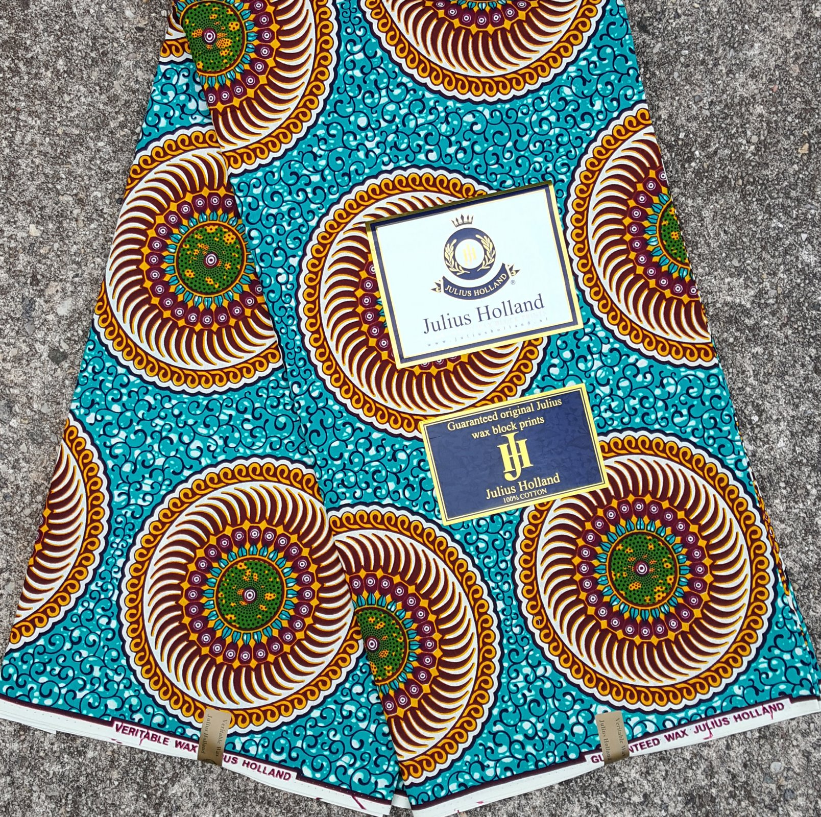 Teal and Gold Wax Block Fabric #1088