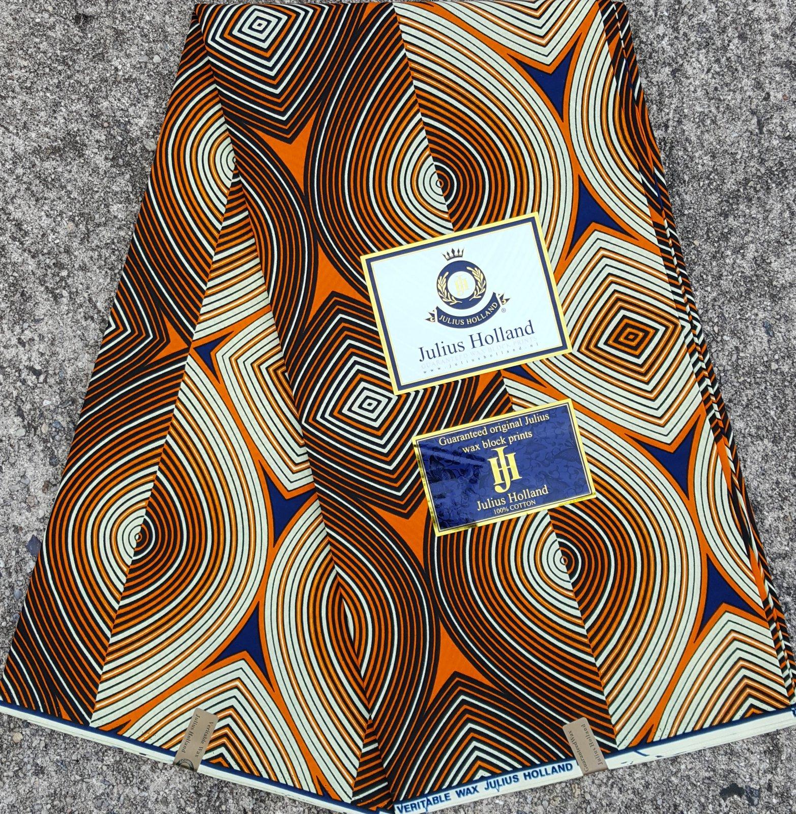 Orange and Dark Blue Wax Block Fabric #1092
