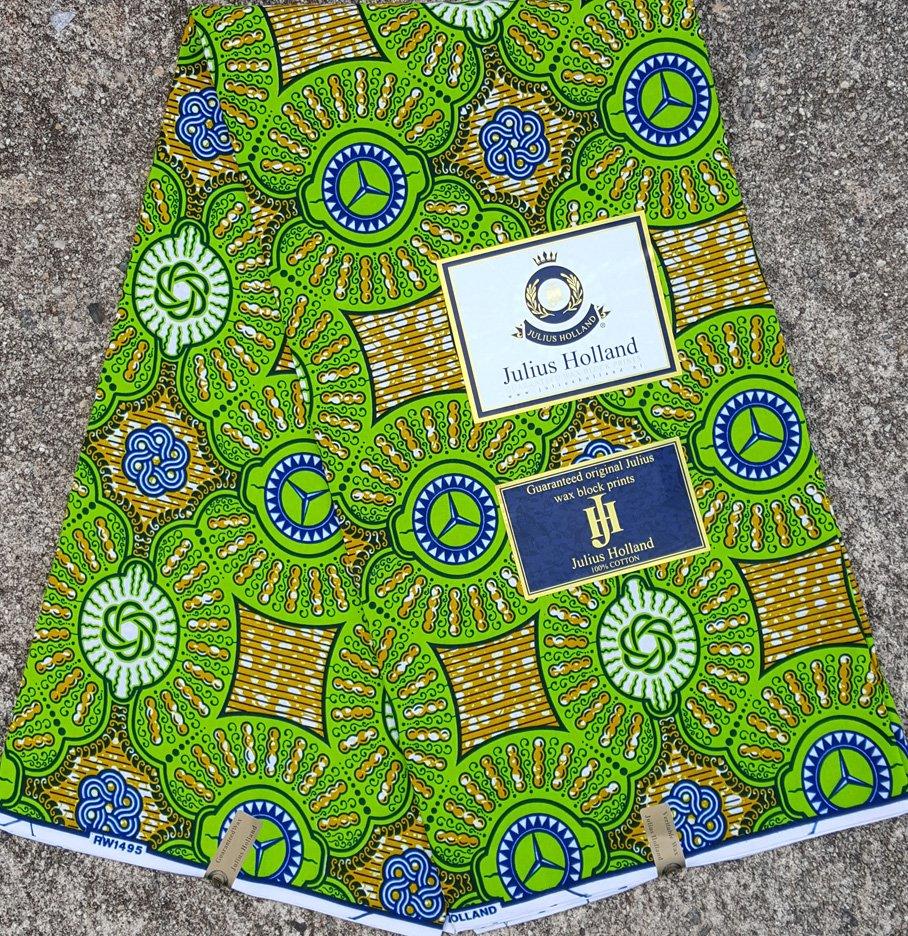 Green and Brown Wax Block Fabric #1095