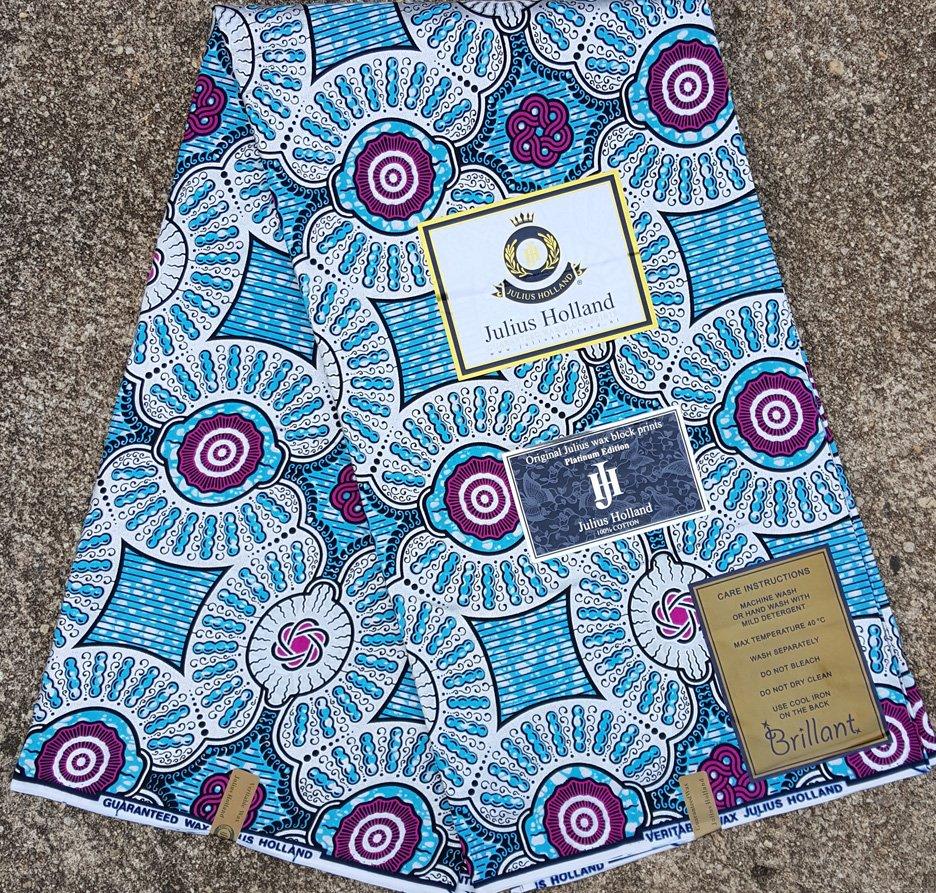 Blue and Metallic Silver Wax Block Fabric #1097