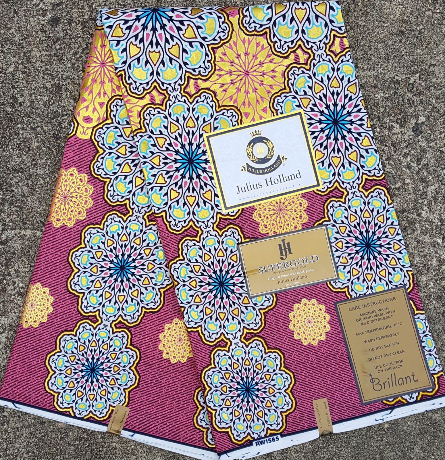 Metallic Pink Floral Wax Block Fabric #1111