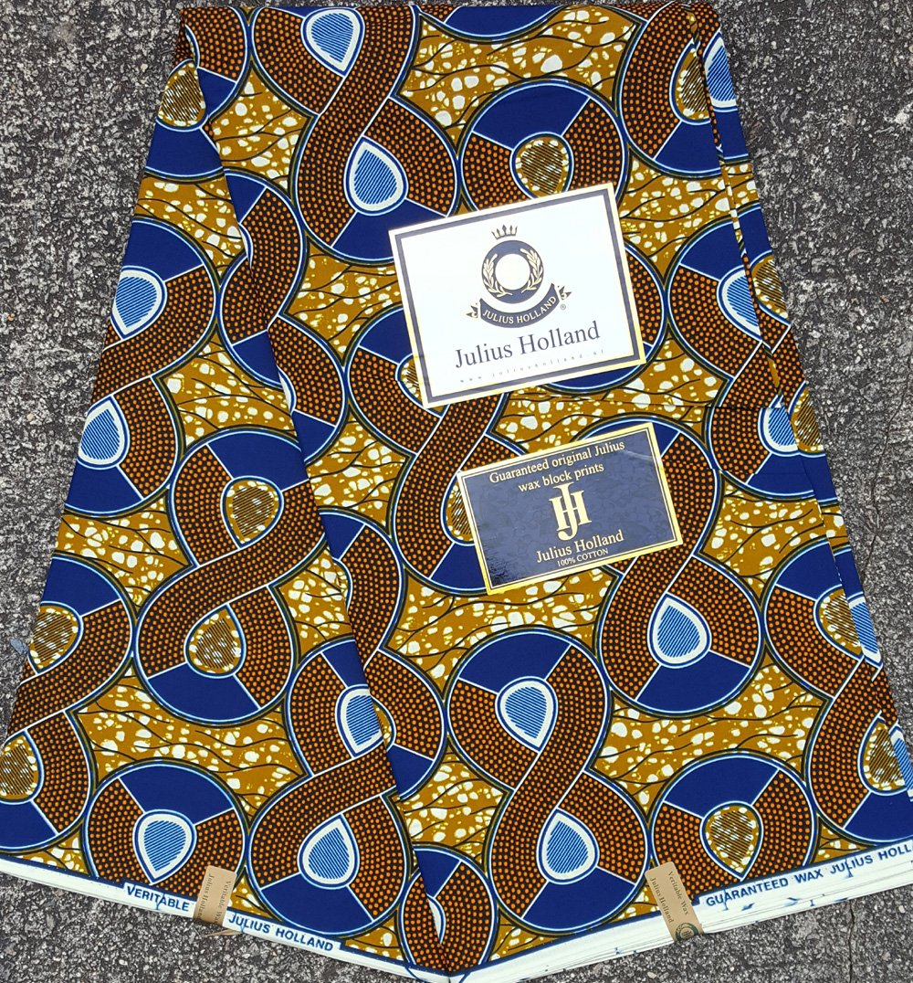 Brown and Blue Figure 8 Wax Block Fabric #1115