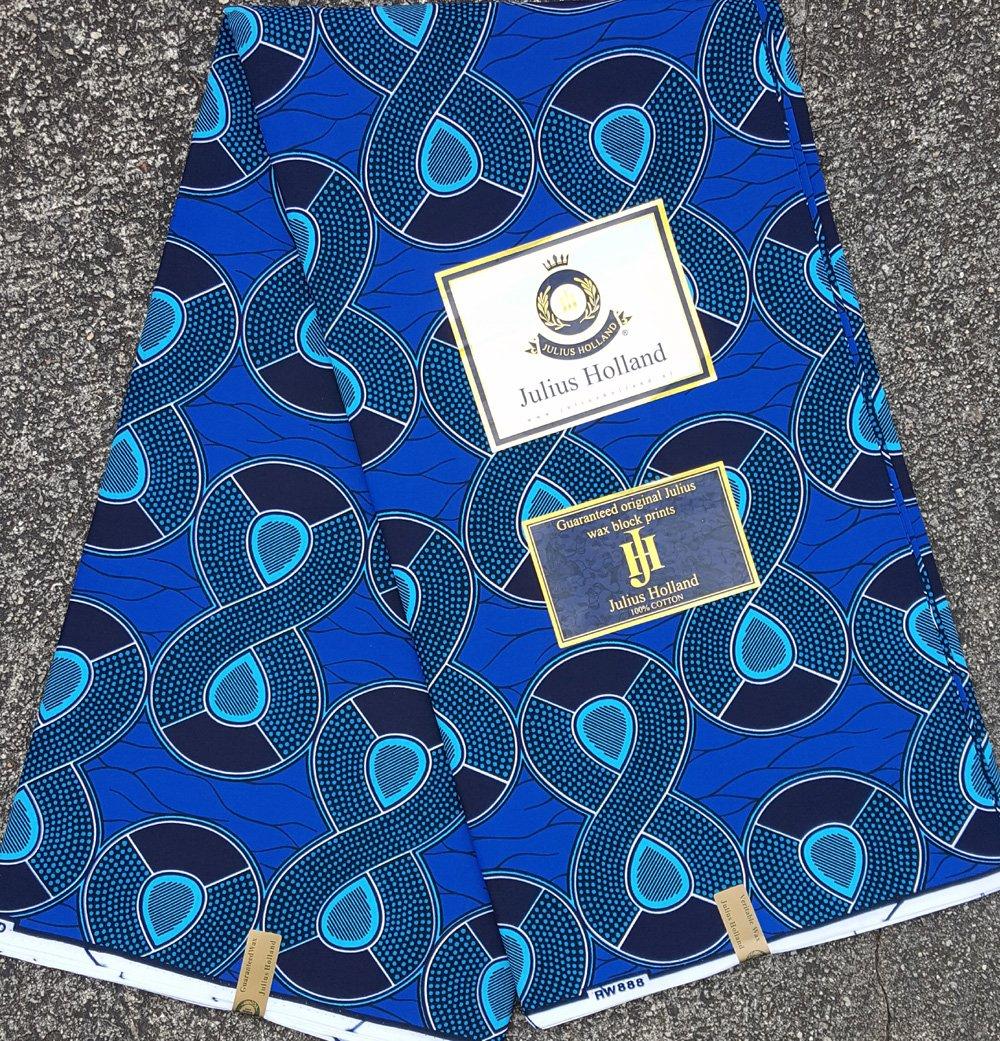 Blue Figure 8 Wax Block Fabric #1116