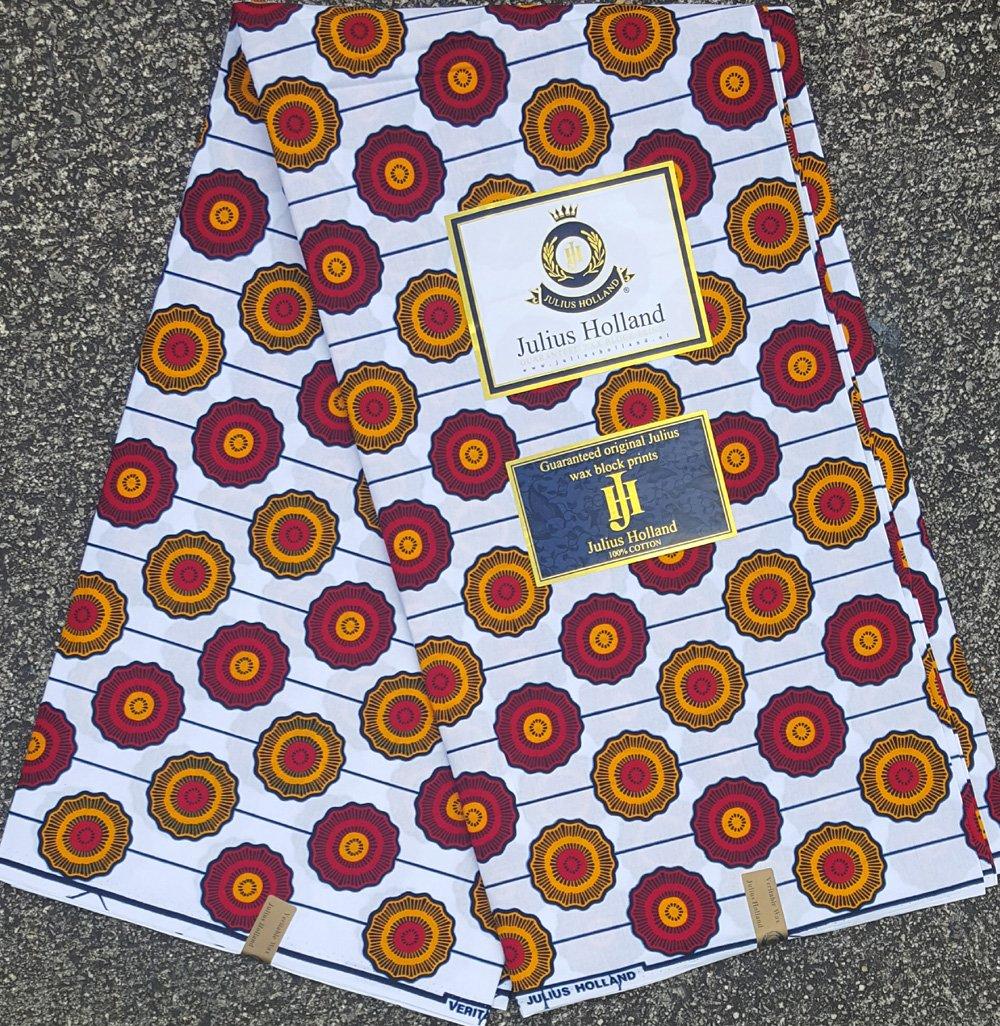 Red and Orange on White Wax Block Fabric #1122