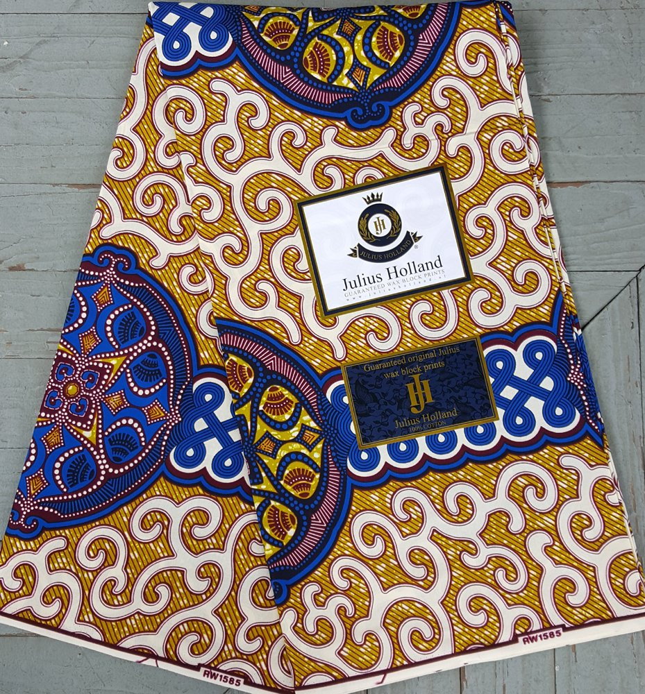 Blue and Gold Wax Block Fabric #1140