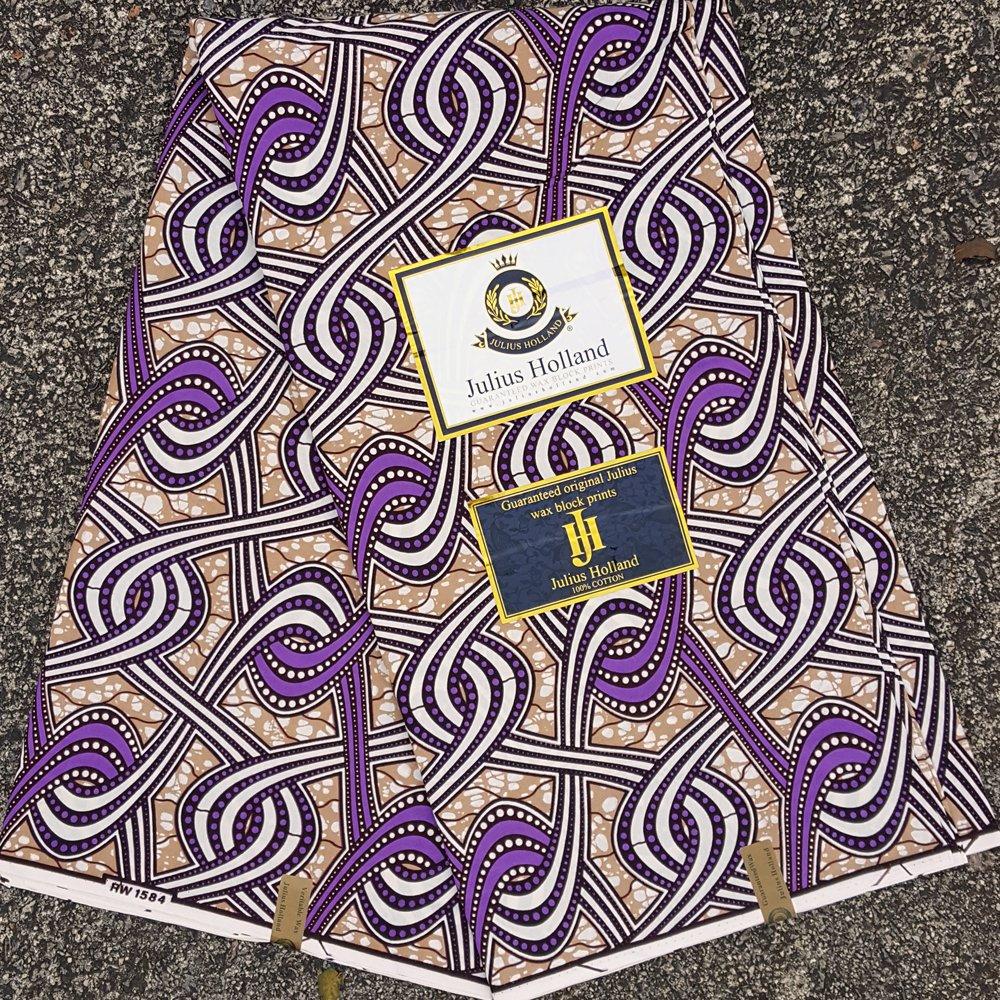 Purple and Tan Wax Block Fabric #1160