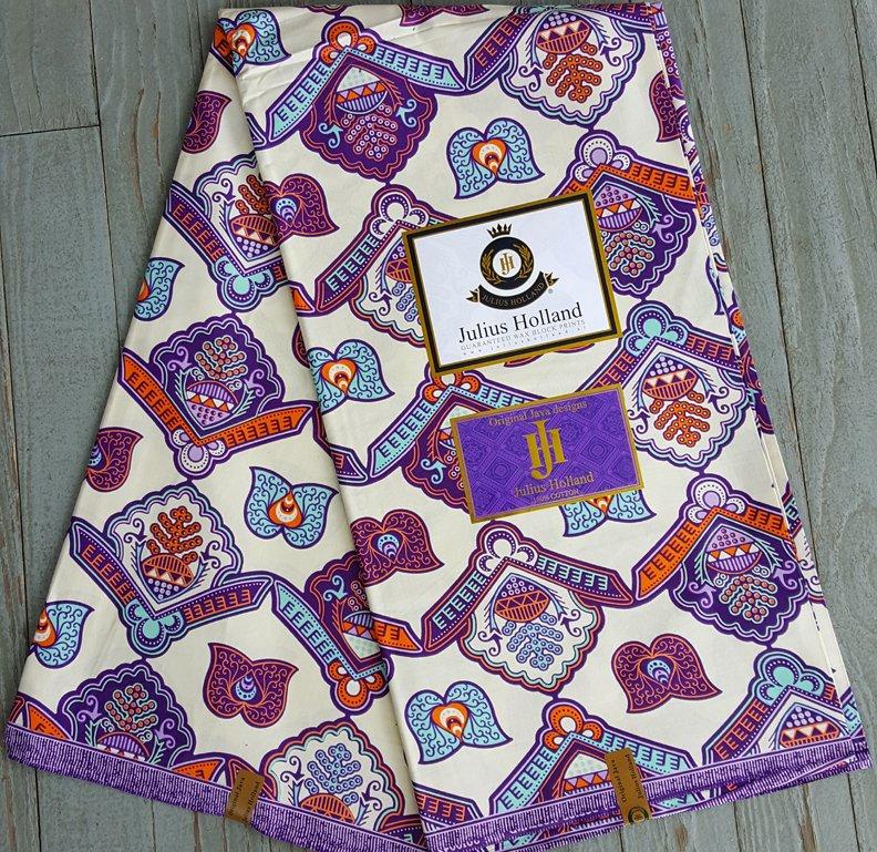 Dutch Java printed fabric (white) #609