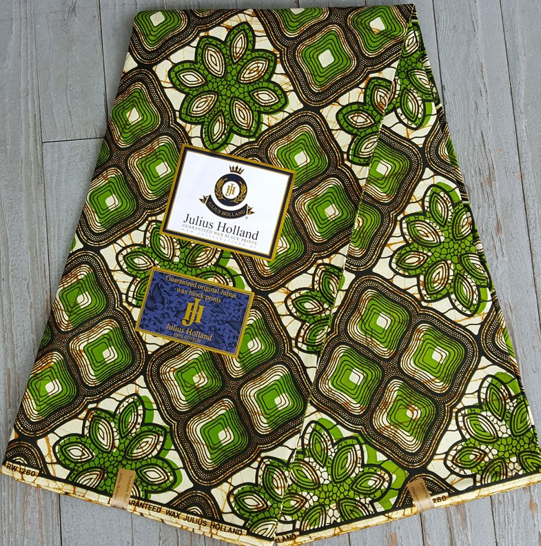 Dutch Wax Block printed fabric (green) #618