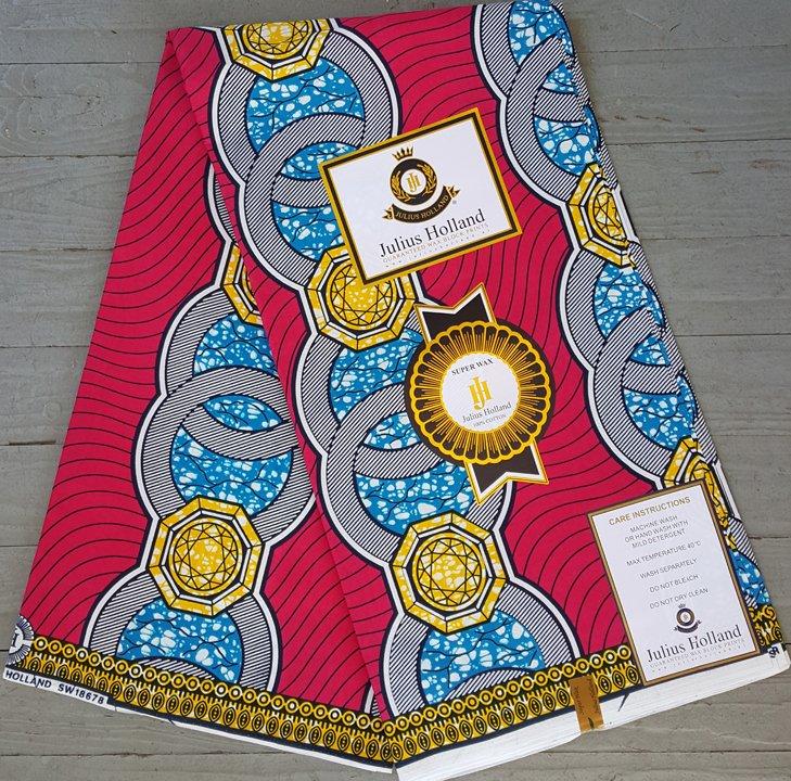 Dutch Super Wax Red printed fabric #664