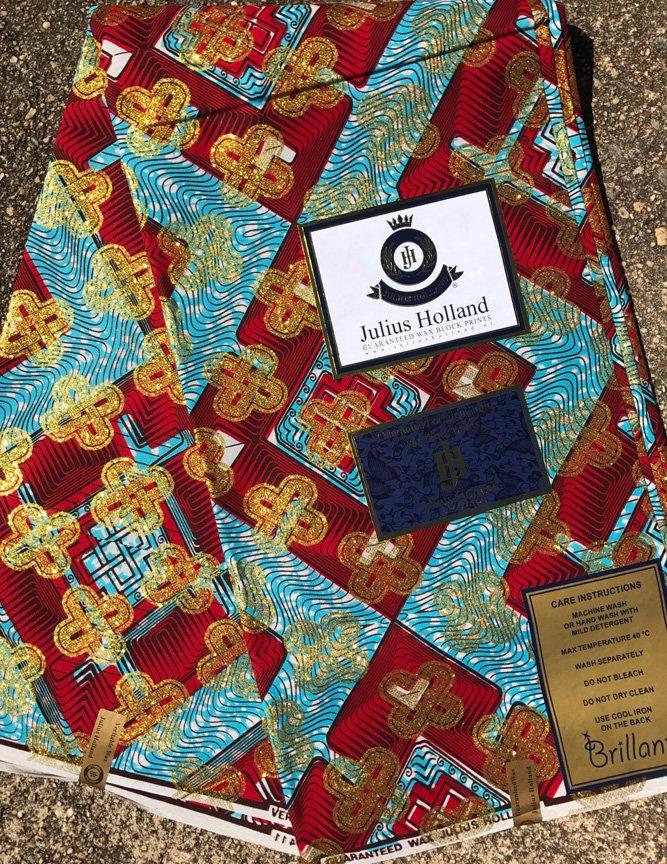 Dutch Wax Block fabric with metallic gold print #686
