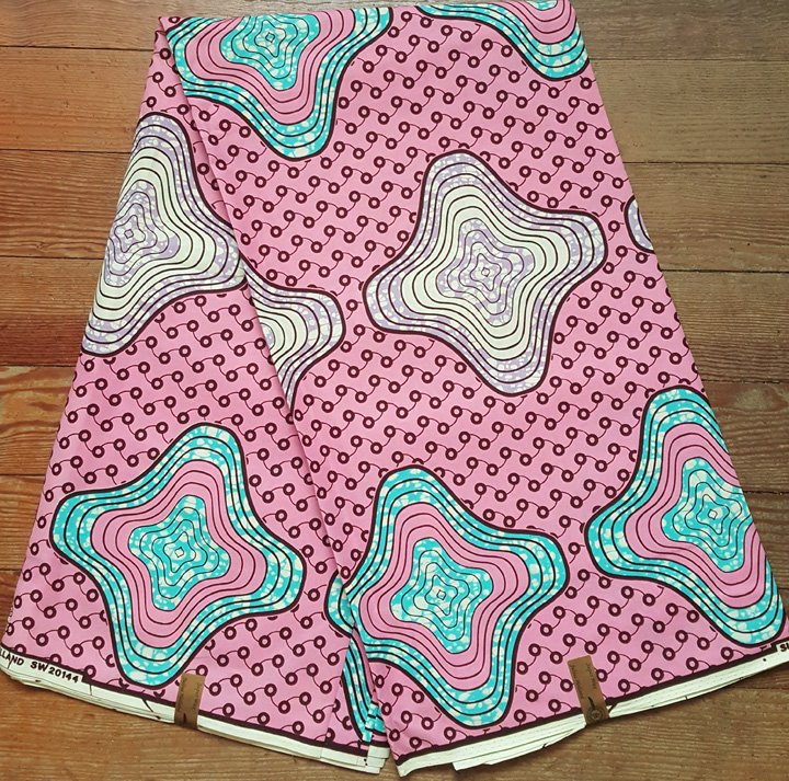 Dutch Wax Block Pink printed fabric #691