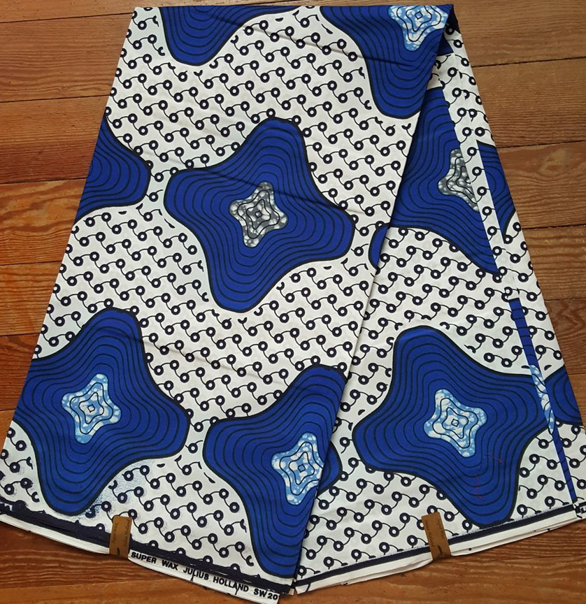 Dutch Wax Block Blue and White printed fabric #692
