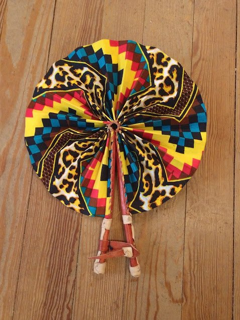 Fabric Ghana Fan with leather handle #04