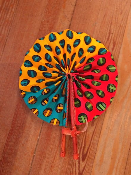 Fabric Ghana Fan with leather handle #05