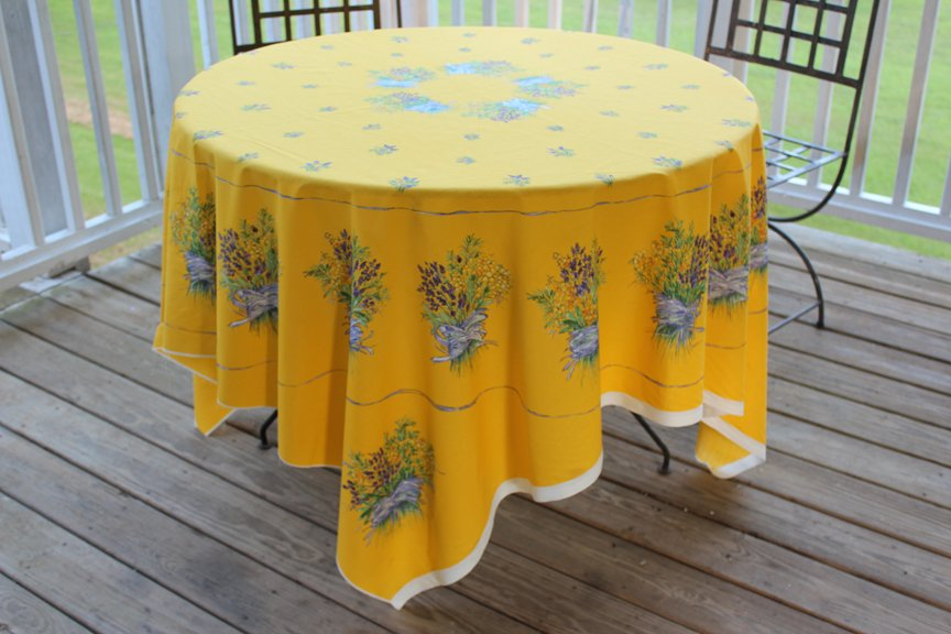 70 French Cotton Tablecloth Panel Lavender (Gold)