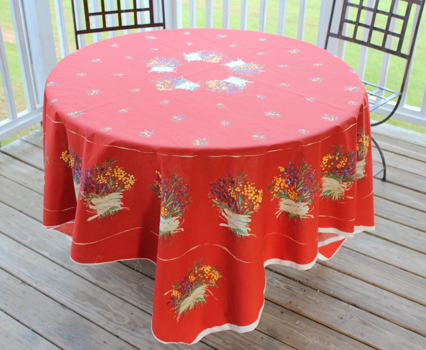 70 French Cotton Tablecloth Panel Lavender (Red)