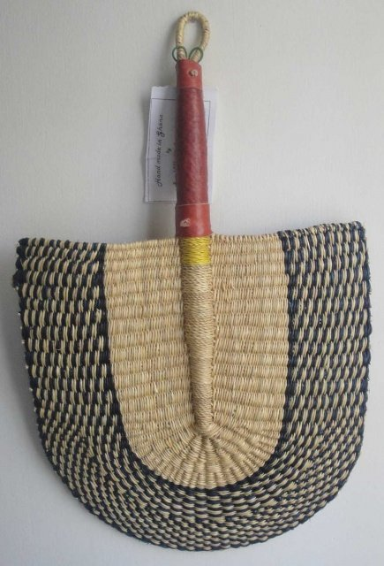 Ghana Handwoven Fan with Leather Handle #003