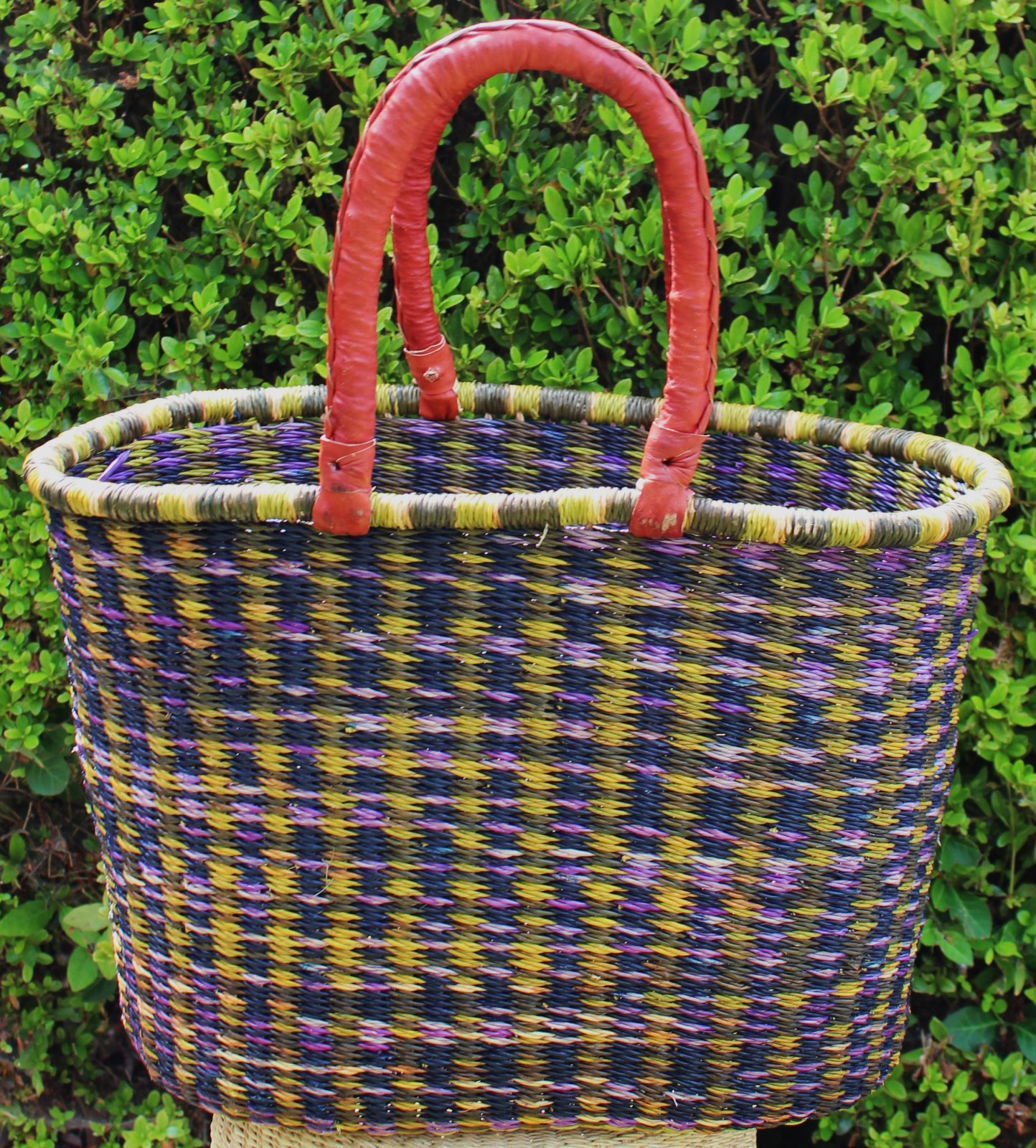 Ghana Double Weave Oval Tote #015