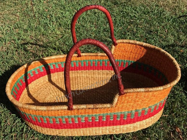 Moses Basket with Two Leather Handles #019