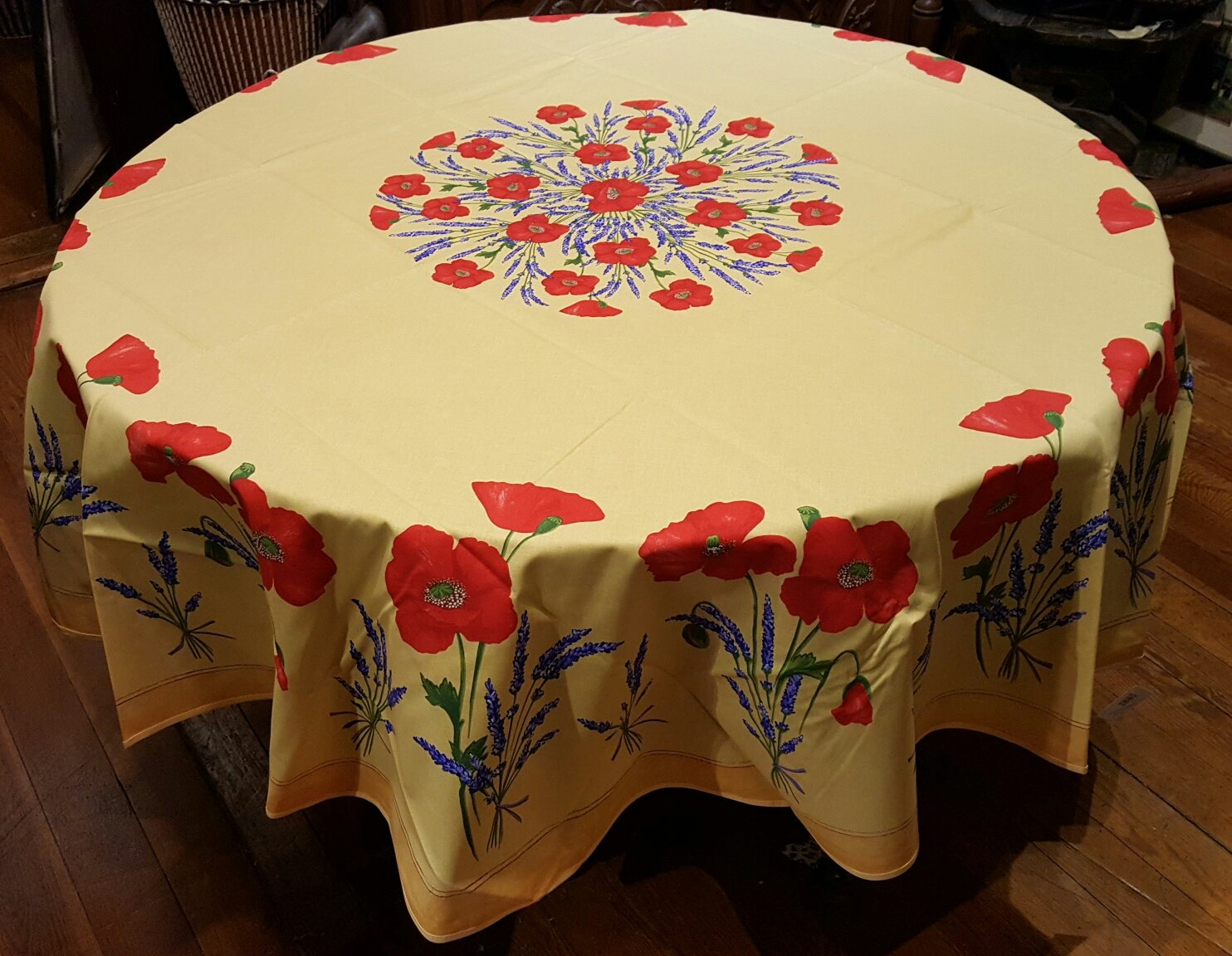 70 French Cotton Round Tablecloth Poppy (Gold)