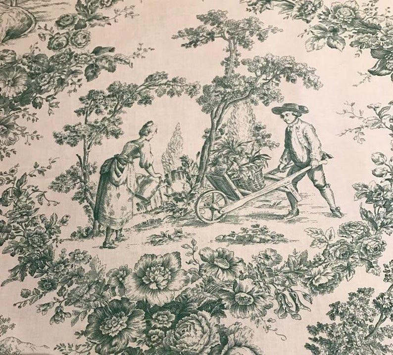 Acrylic Coated Green Toile Fabric #900