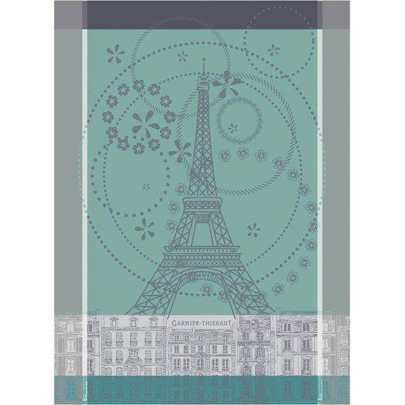 Garnier-Thiebaut Tea Towel Eiffel Tower (Celadon Green)