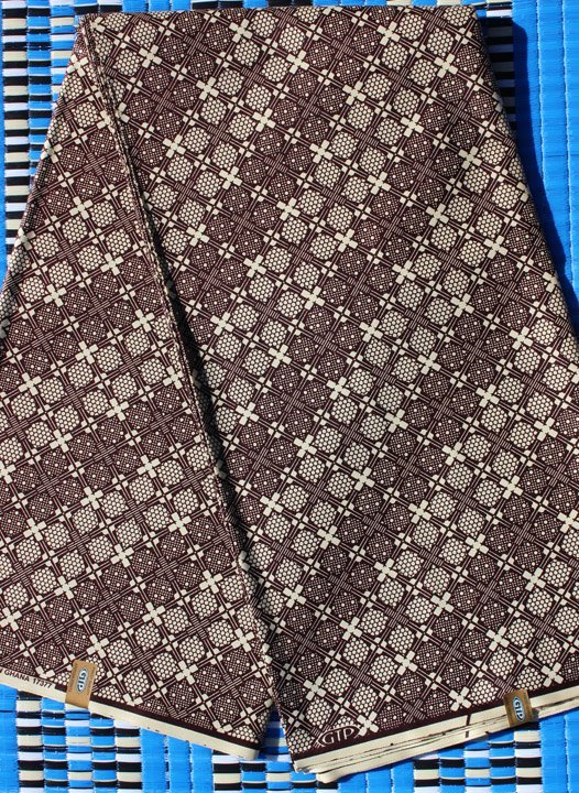 African brown geometric design fabric by GTP #113