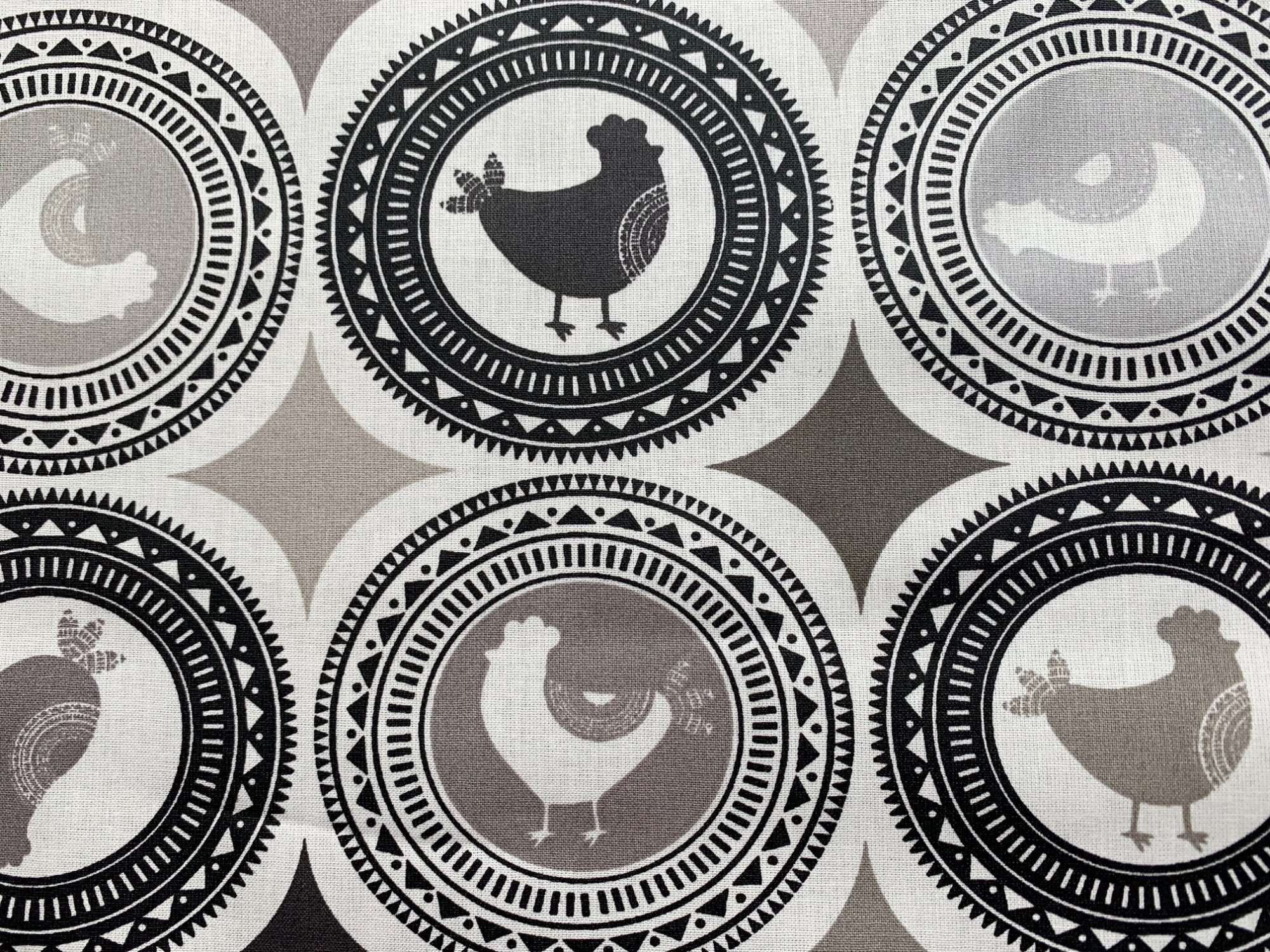 Acrylic coated Black and White Chicken fabric #314