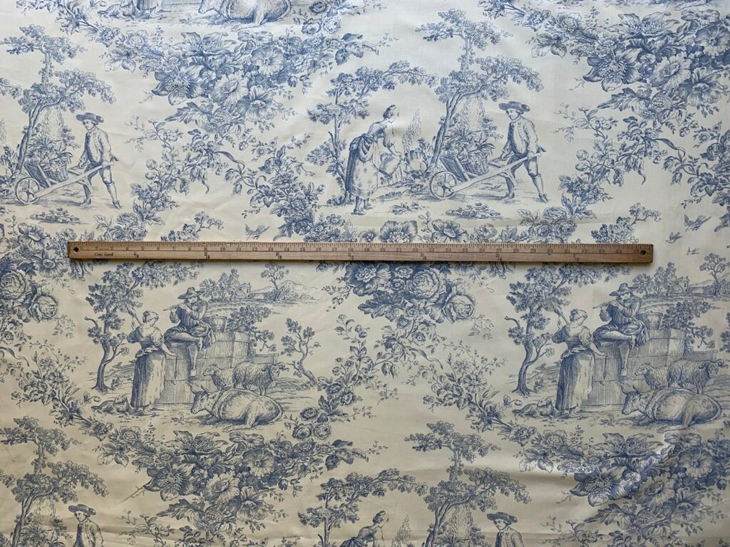 French Pastoral toile fabric (Blue) #133