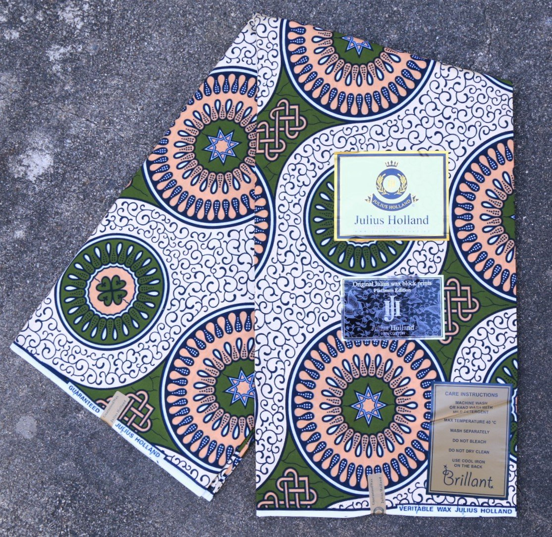 Metallic Circle Pattern Dutch Wax Fabric #1248