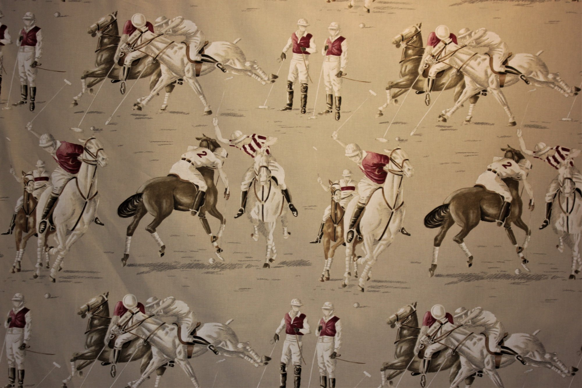 French Polo Horses Fabric #001