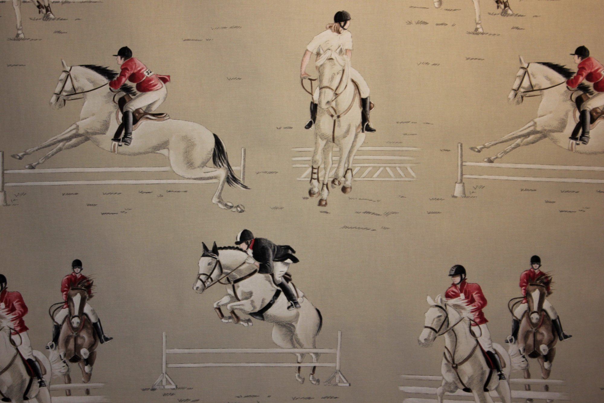 French Jumping Horses Fabric #002