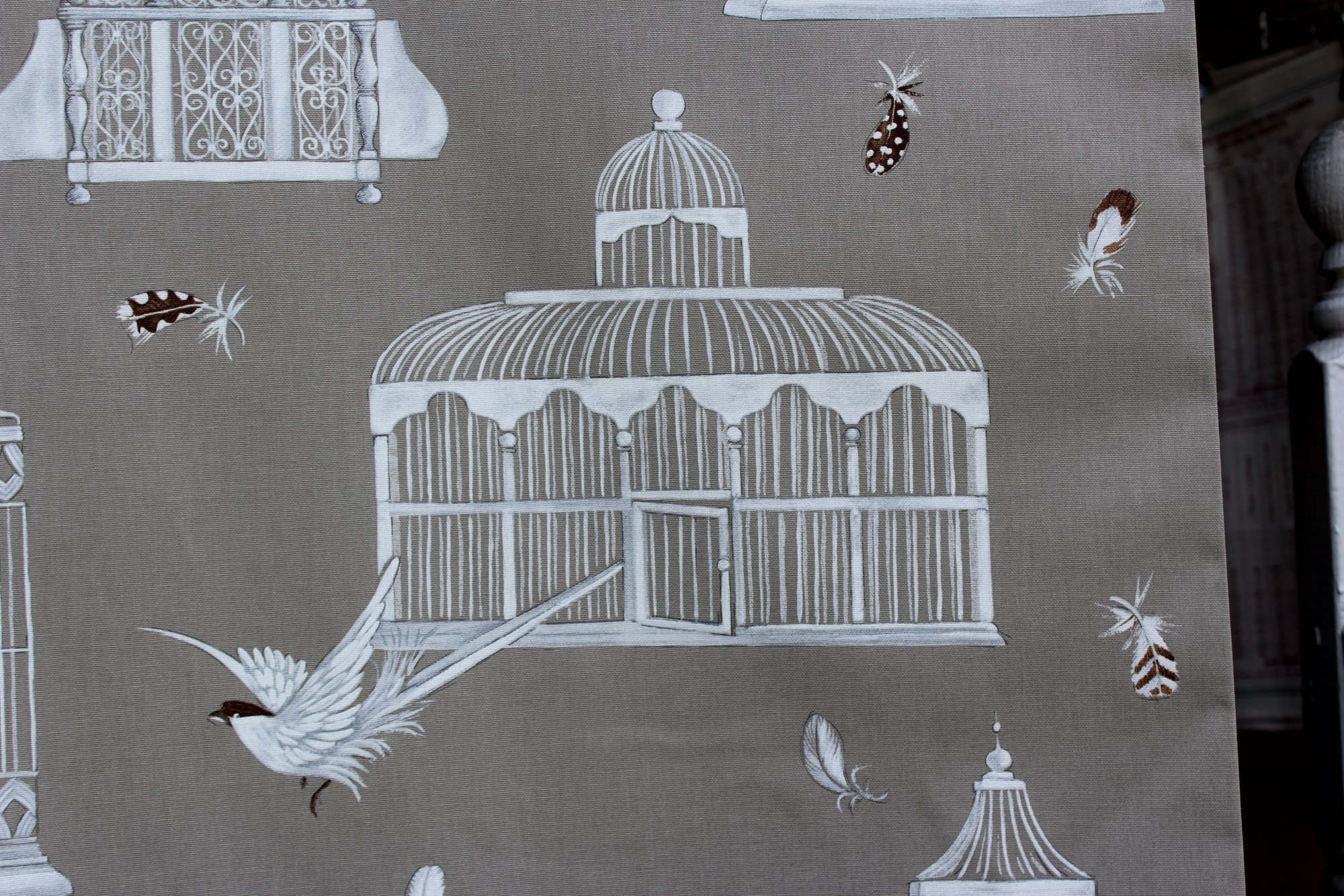 French 108-inch wide Bird Cage Drapery Fabric #44