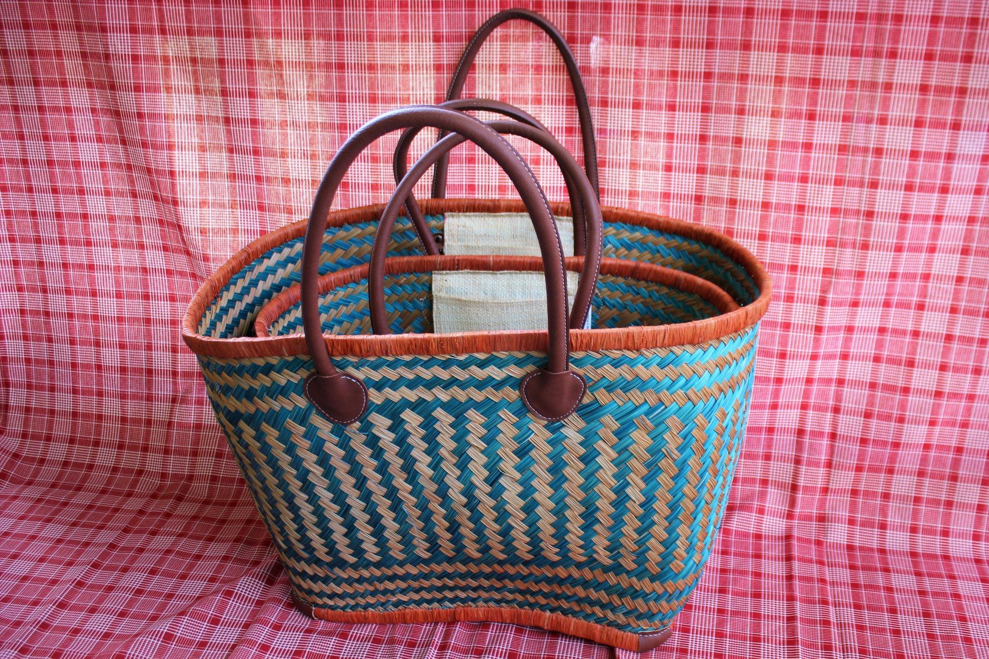 Madagascar Basket - Blue/Caramel