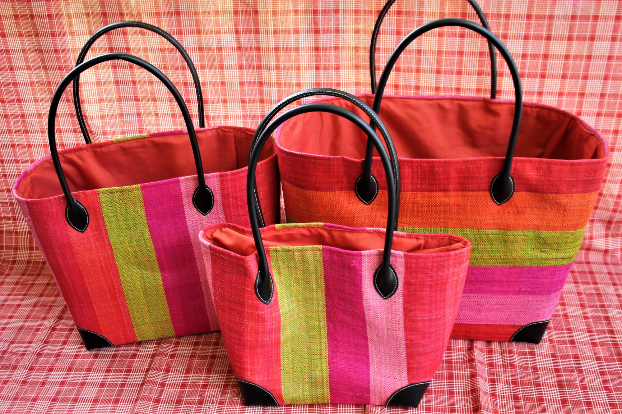 Madagascar Striped Raffia Bag #030