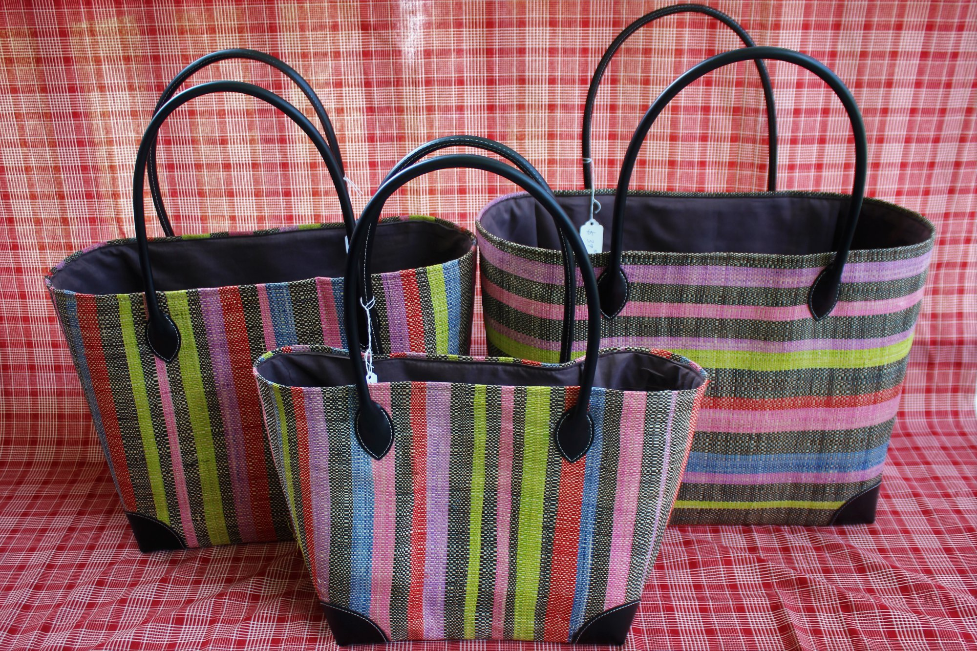 Madagascar Striped Raffia Bag #031