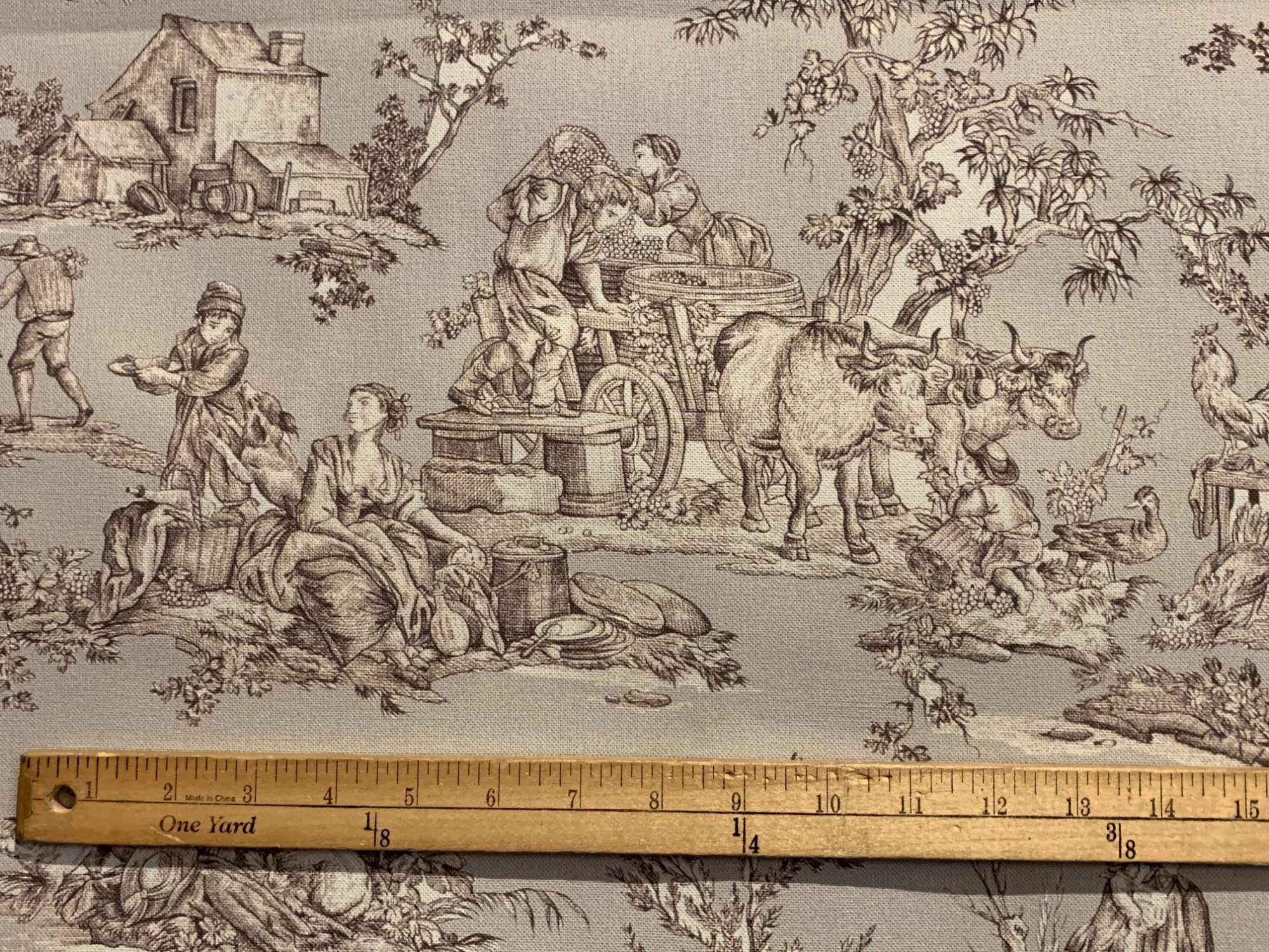 Heavy French Pastoral grey toile fabric (55 wide)