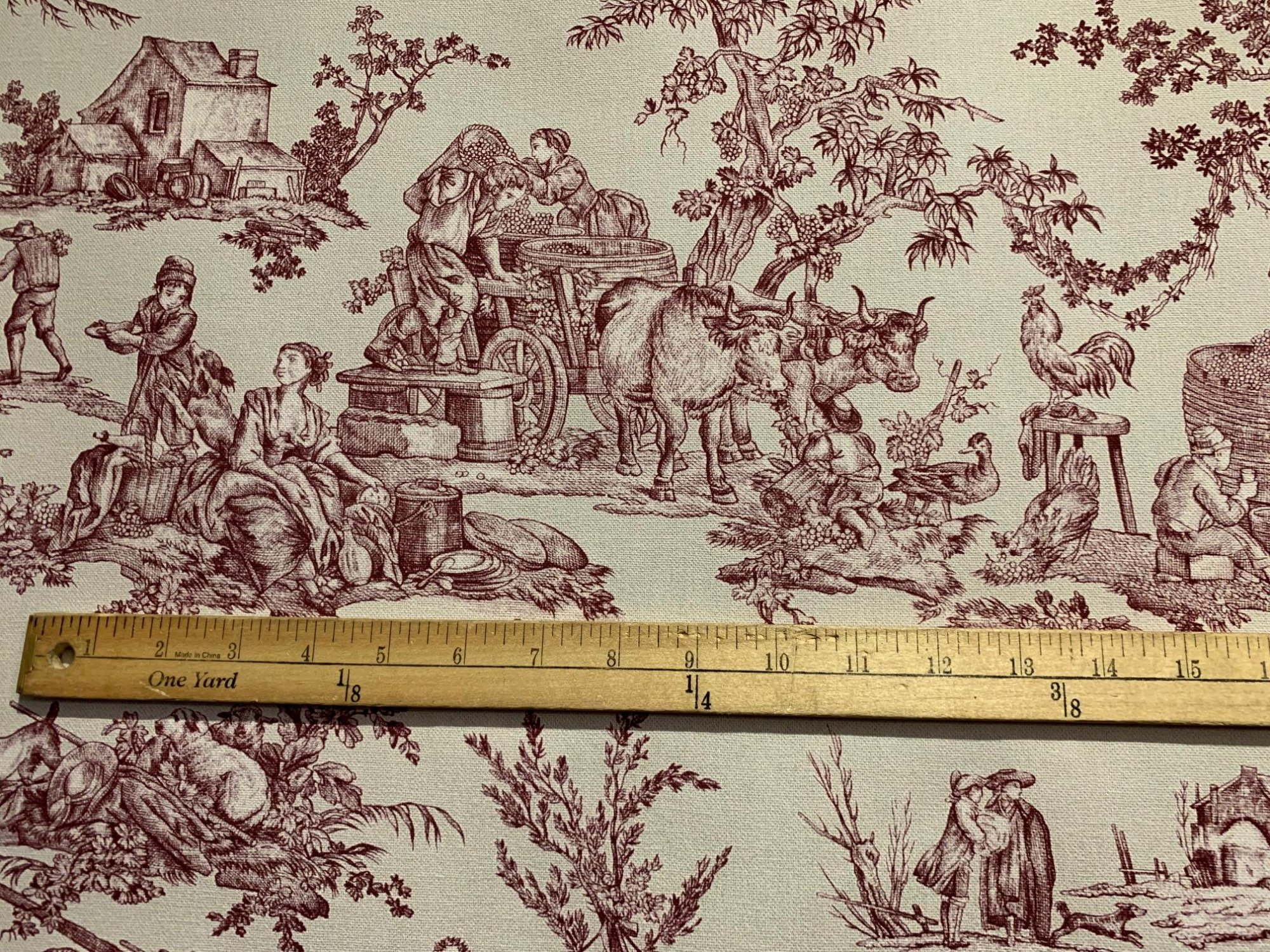 Heavy French Pastoral red toile fabric (55 wide)