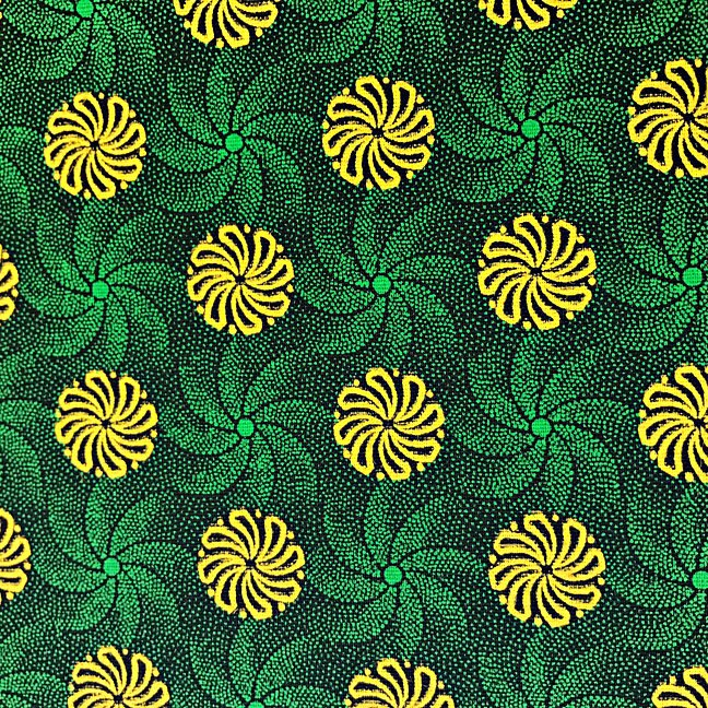 Green, yellow, and black floral shweshwe (147)