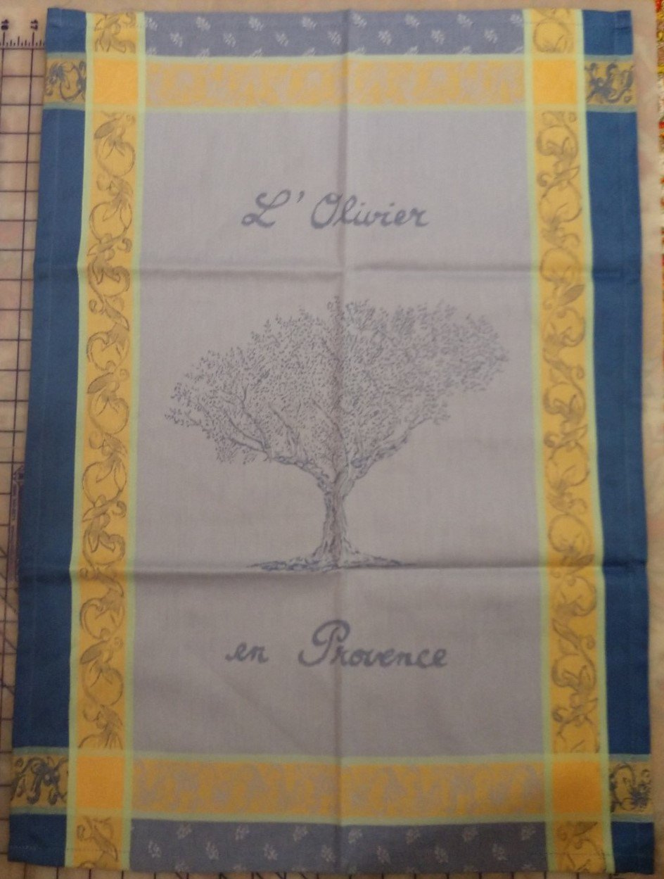 Tissage du Soleil Olive tree tea towel 2 (blue)