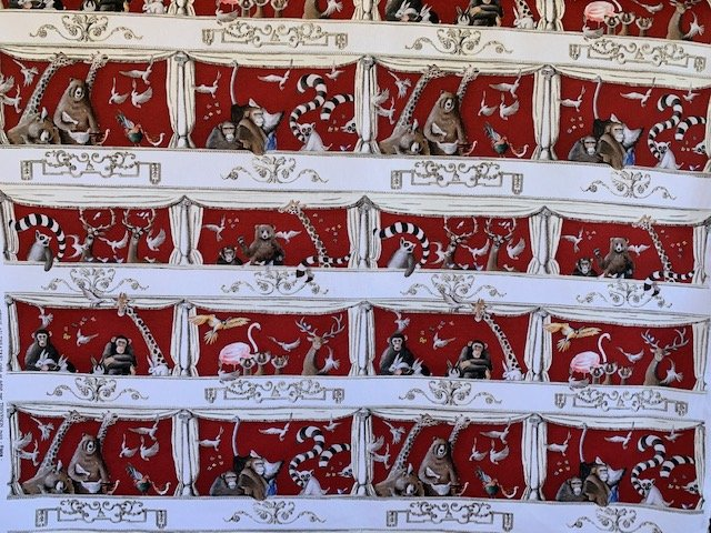 Animals to the Theater fabric by Thevenon Red
