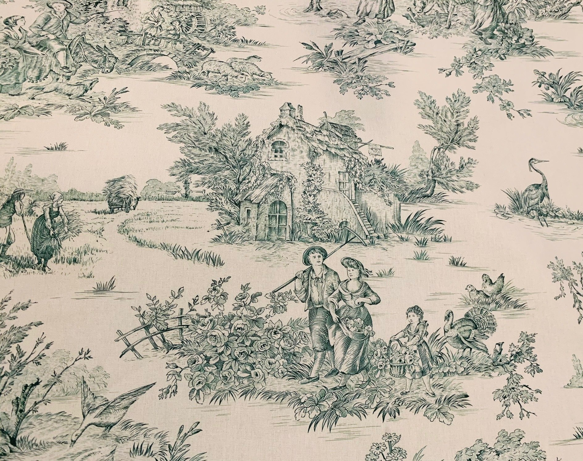 French green pastoral toile fabric #3