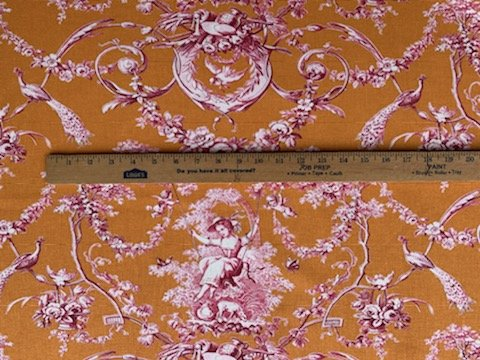 Red on orange summer toile (110 wide) #73