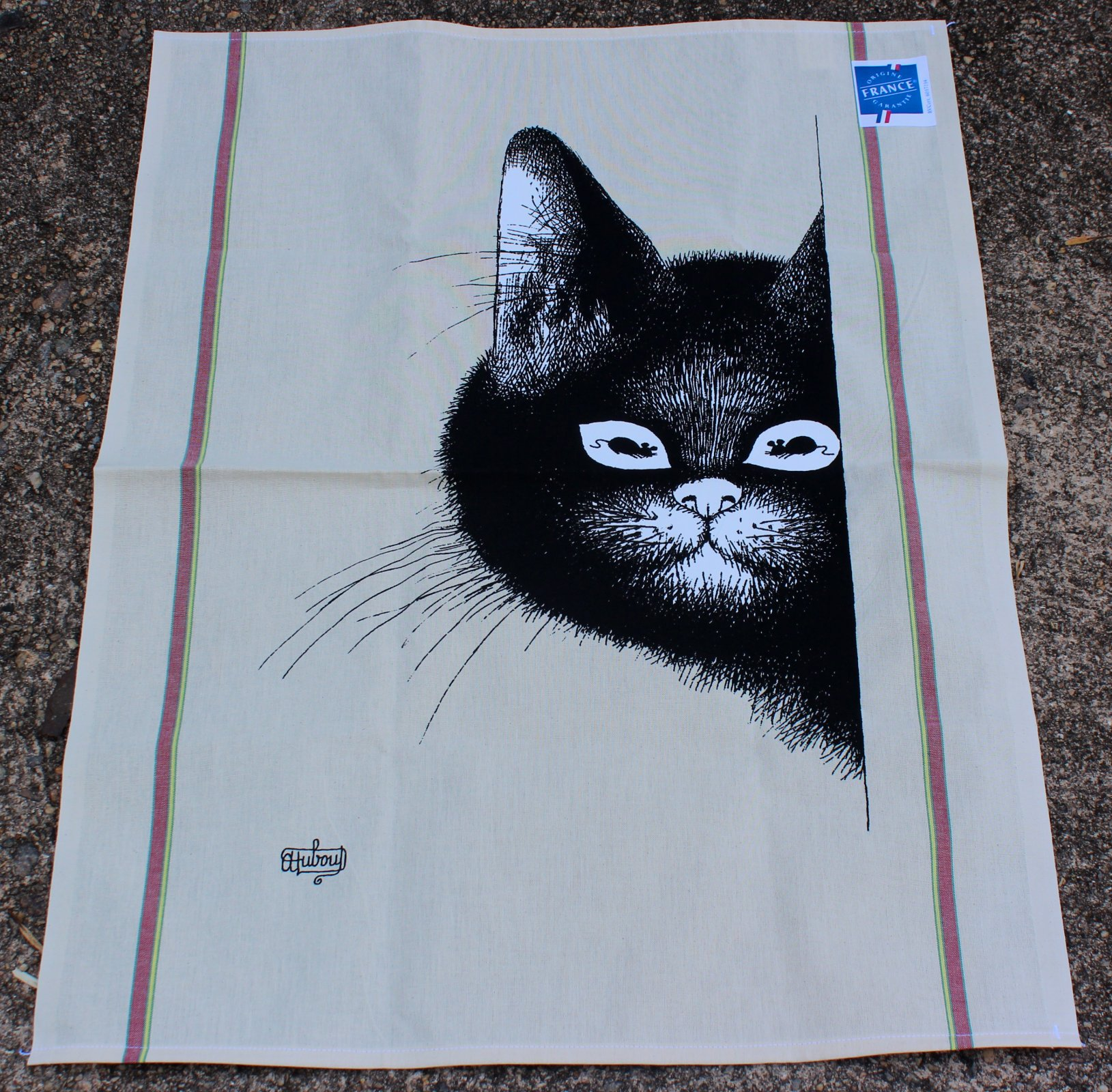 Dubout Cat Mouse Eyes tea towel