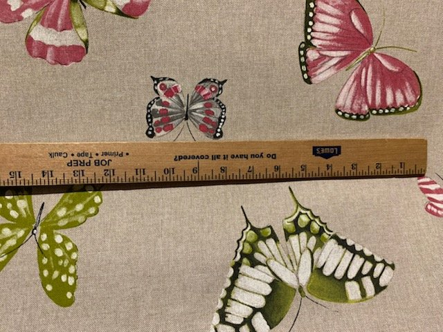 Butterfly drapery fabric on tan 108 inches wide #46