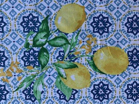 Blue and White Lemon Fabric #702