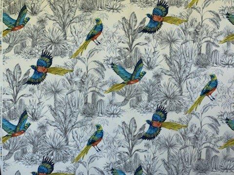 Tropical Bird Drapery Fabric (108 Wide)