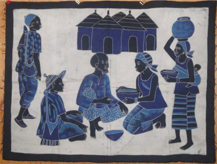 Ivory Coast Batik Village Life panel #034