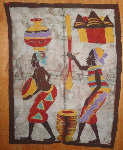 Ivory Coast Batik Village Life panel #038