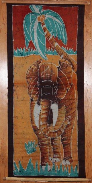 Ivory Coast Batik Elephant wall hanging #012